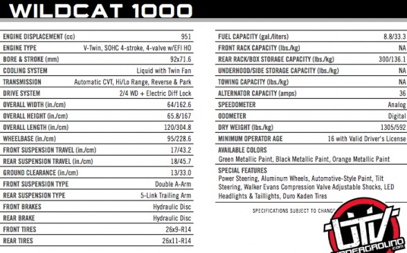 Arctic Cat Wildcat  Specs