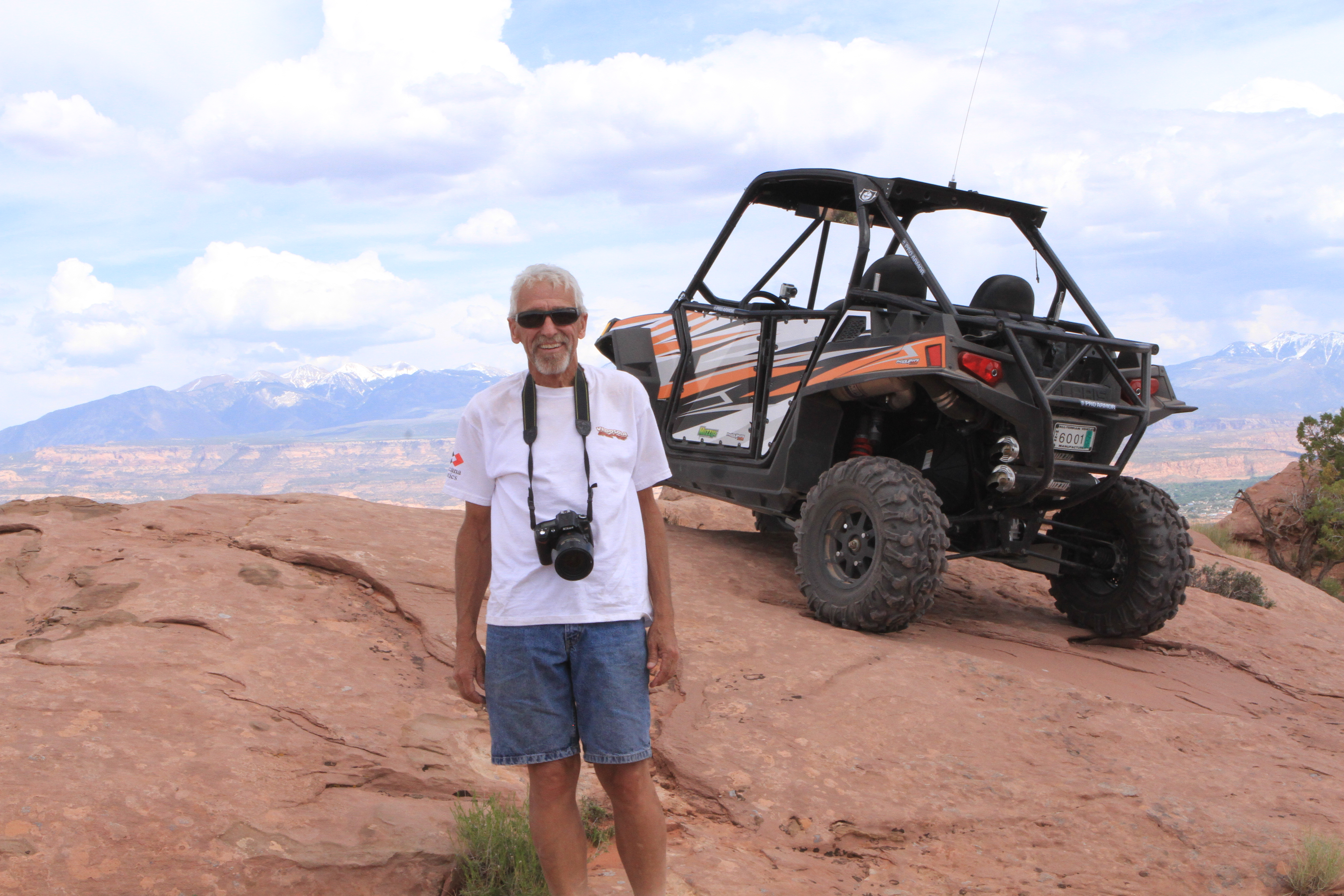 Taken in 2013, Wally was in the heat of battle with cancer but still made it to Moab to ride with us. We had a great day on the trail that afternoon. Of course he was the leader.