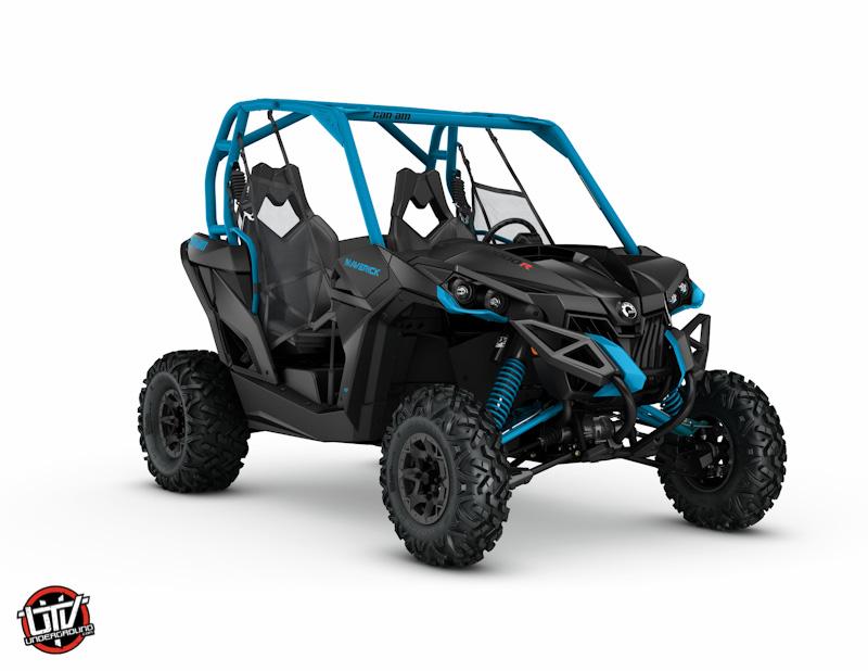 2017 Maverick DPS 1000R Black and Octane Blue_3-4 front-utvunderground.com