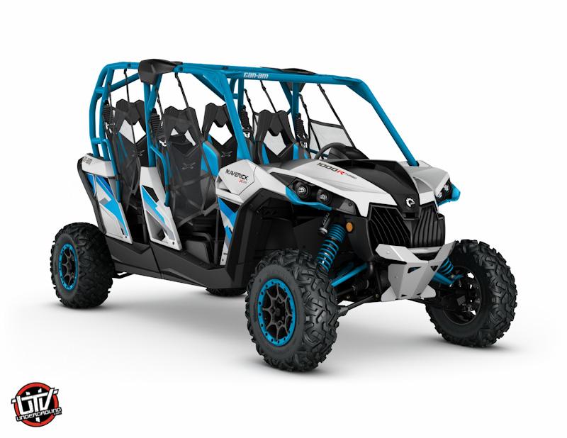 2017 Maverick MAX X ds 1000R TURBO Hyper Silver and Octane Blue_3-4 front-utvunderground.com