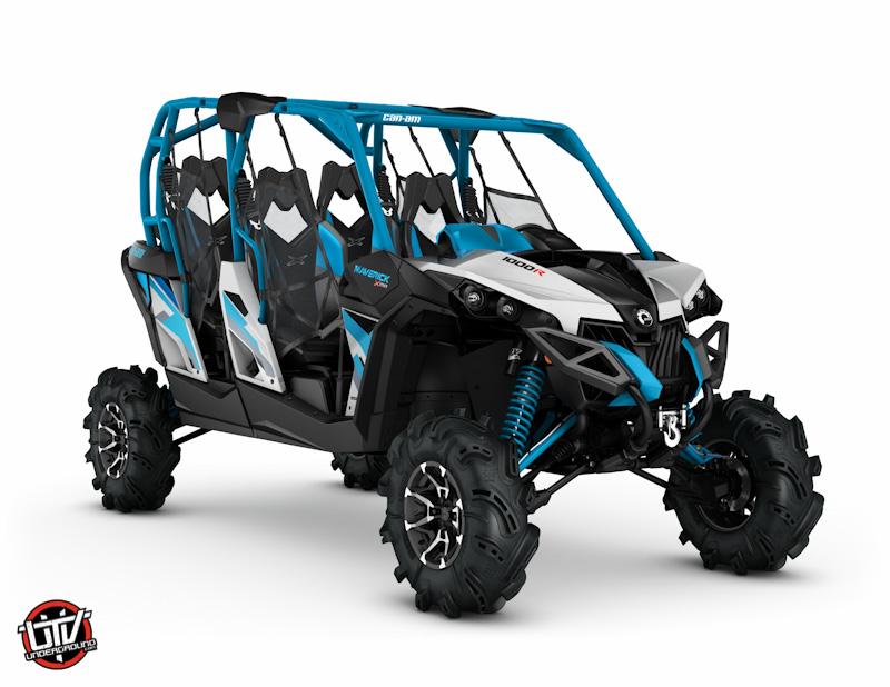 2017 Maverick MAX X mr 1000R Hyper Silver, Black and Octane Blue_3-4 front-utvunderground.com
