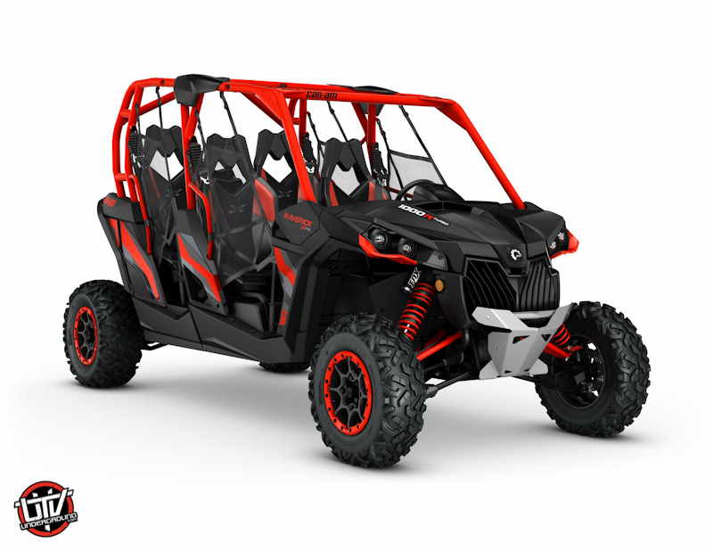 2017 Maverick MAX X rs 1000R TURBO Carbon Black and Can-Am Red_3-4 front-utvunderground.com