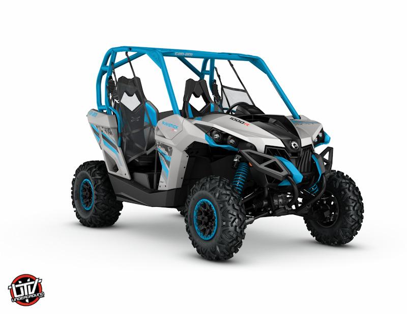 2017 Maverick X xc 1000R Light Grey and Octane Blue_3-4 front-utvunderground.com