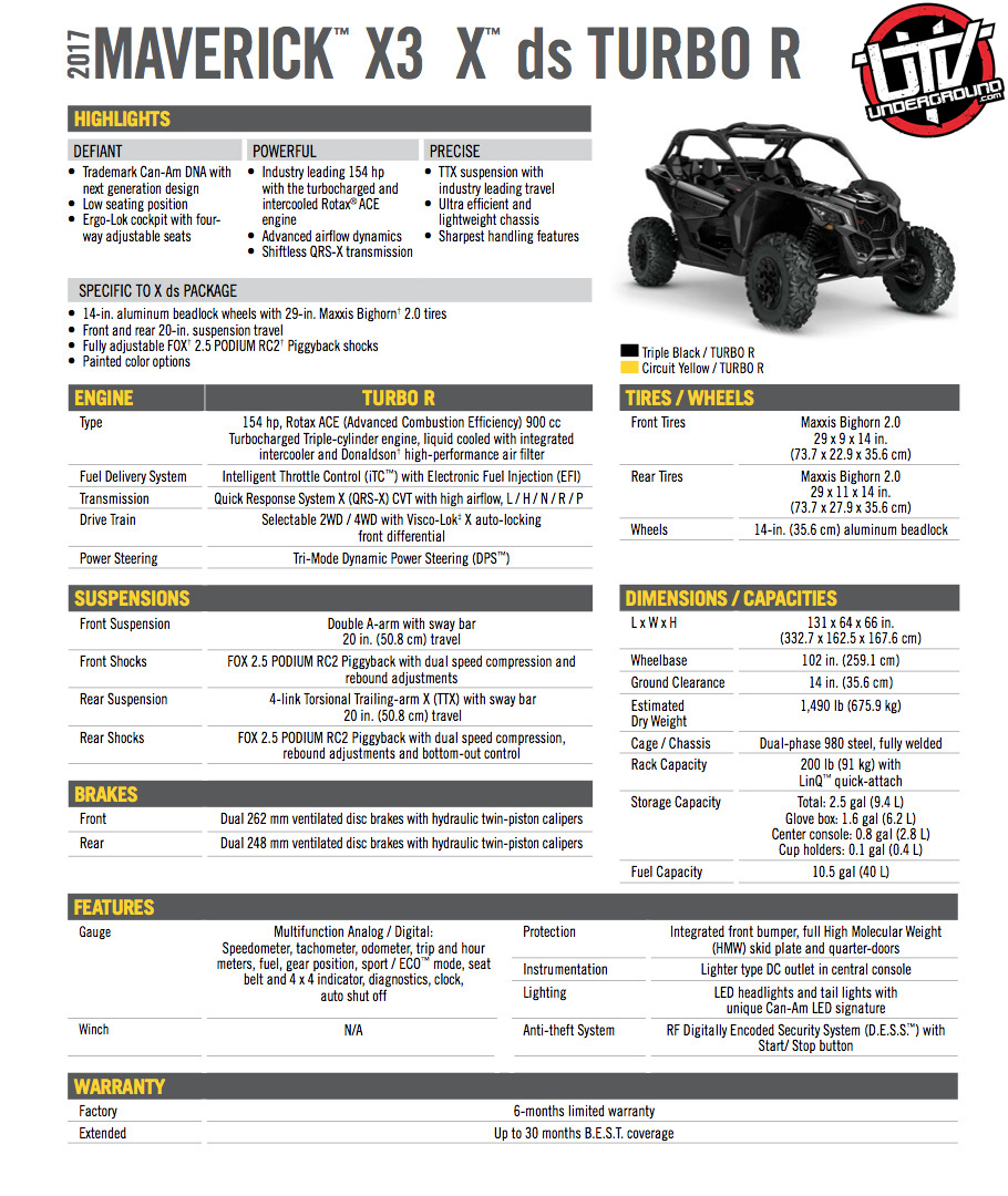 2017 Maverick X3 X ds TURBO R copy-utvunderground.com