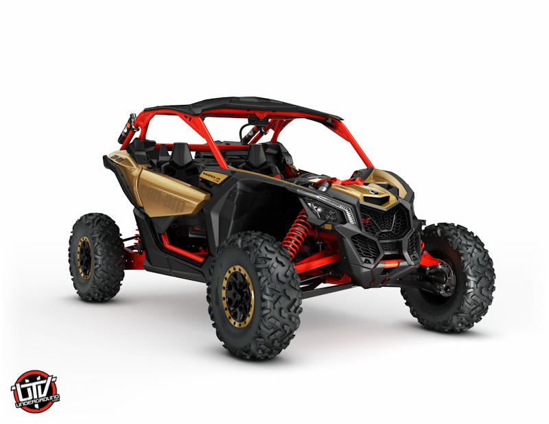 2017_Maverick X3 X rs TURBO R Gold and Can-Am Red_3-4 front-utvunderground.com