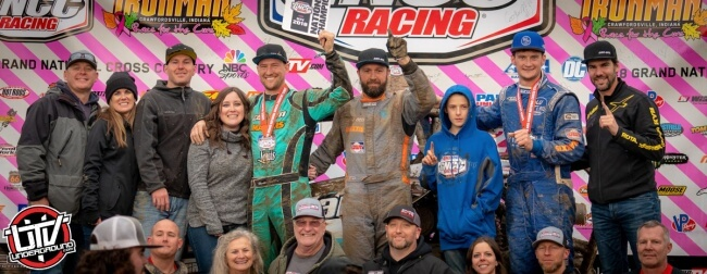 Hunter Miller, the 2018 GNCC XC1 Pro Turbo UTV class champion (center), is joined on the final GNCC UTV racing podium by his friends, family and sponsors after securing the class title in his Can-Am Maverick X3 Turbo R side-by-side vehicle with a solid second-place finish this past weekend at the Ironman GNCC in Crawfordsville, Ind.