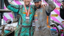 Can-Am pilot Hunter Miller and co-pilot Adam McGill celebrate Miller's 2018 GNCC XC1 Pro Turbo UTV championship on the Ironman GNCC podium in Indiana.