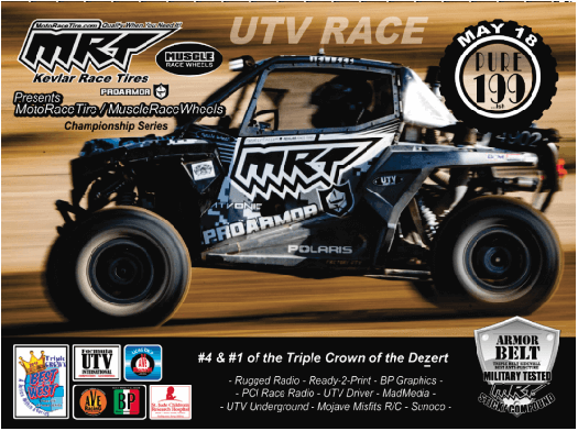 AVE/BP Racing announced today that MRT MotoRaceTire and Muscle Race Wheels have become the official Title Sponsor of the three-event PURE UTV TRIPLE CROWN OF THE DEZERT SERIES.