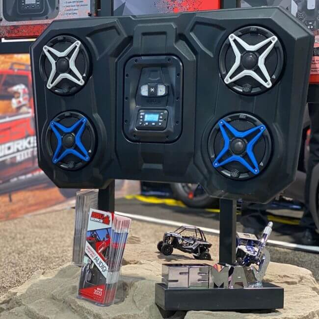 The New WP3-RZ3O65 Overhead Weatherproof Audio Solution for Two and Four Seat Polaris RZRs Recently Won Best New Powersports Product and a 2019 SEMA Global Media Award;
