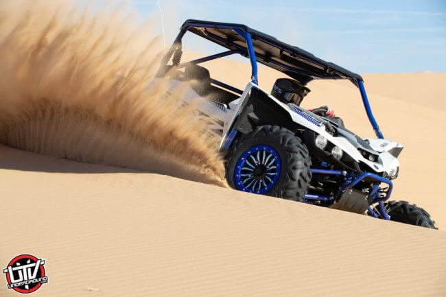 The stock Maxxis Bighorn tires are great in the sand, especially with all the Turbo power on tap. The handling of the YXZ is extremely predictable and confidence-inspiring in the dunes.