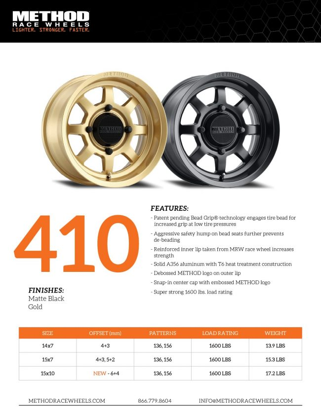 Method Race Wheels UTV Side by Side 410 available sizes and tech specs