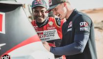 Nasser Al-Attiyah and Blade Hildebrand are seen around the OT3 by Overdrive in Erfoud, Morocco