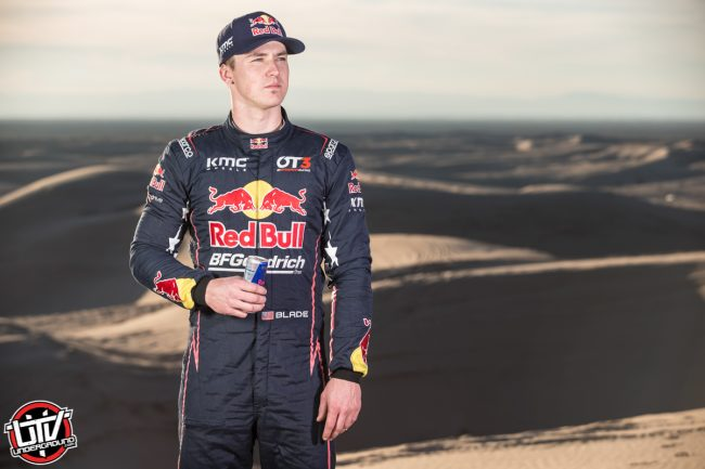 Red Bull Off-Road Junior Team member Blade Hildebrand poses for a portrait at Glamis in Brawley, CA
