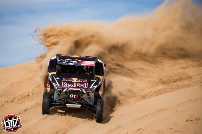 Red Bull Off-Road Junior Team member Blade Hildebrand drives at Glamis in Brawley, CA