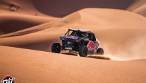 Nasser Al-Attiyah and Matthieu Baumel perform with the OT3 by Overdrive in Erfoud, Morocco