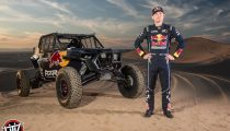 Red Bull Off-Road Junior Team member Mitch Guthrie poses for a portrait at Glamis in Brawley, CA