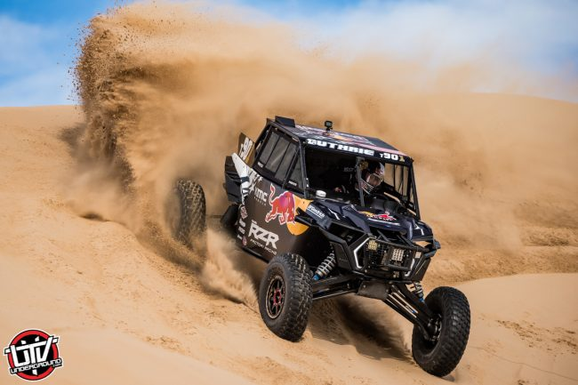 Red Bull Off-Road Junior Team member Mitch Guthrie drives at Glamis in Brawley, CA USA