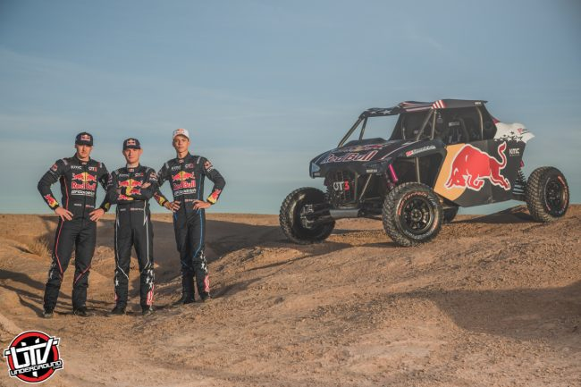 Seth Quintero, Mitch Guthrie Jr. and Blade Hildebrand pose for a portrait with the OT3 by Overdrive in Erfoud, Morocco
