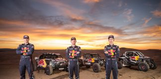 Red Bull Off-Road Junior Team members Blade Hildebrand, Mitch Guthrie, and Seth Quintero pose for a portrait at Glamis in Brawley, CA