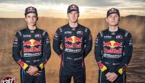 Red Bull Off-Road Junior Team member Seth Quintero, Blade Hildebrand, and Mitch Guthrie pose for a portrait at Glamis in Brawley, CA