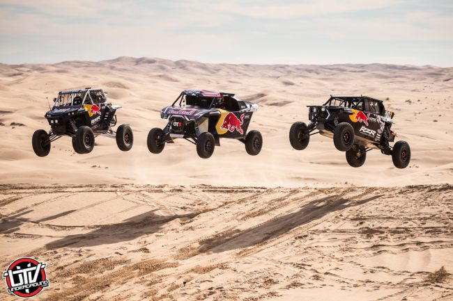 Red Bull Off-Road Junior Team member Seth Quintero, Blade Hildebrand, and Mitch Guthrie drives at Glamis in Brawley, CA