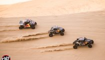 Red Bull Off-Road Junior Team members Blade Hildebrand, Seth Quintero, and Mitch Guthrie drive at Glamis in Brawley, CA