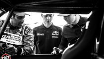 Nasser Al-Attiyah, Seth Quintero and Blade Hildebrand are seen around the OT3 by Overdrive in Erfoud, Morocco