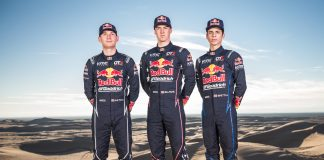 Red Bull Off-Road Junior Team members Mitch Guthrie, Blade Hildebrand, and Seth Quintero pose for a portrait at Glamis in Brawley, CA