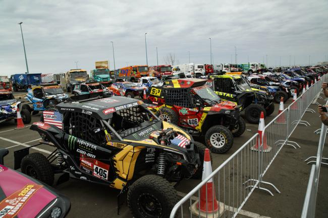 The race vehicles sit in Parc Ferme waiting for the Podium Ceremony.