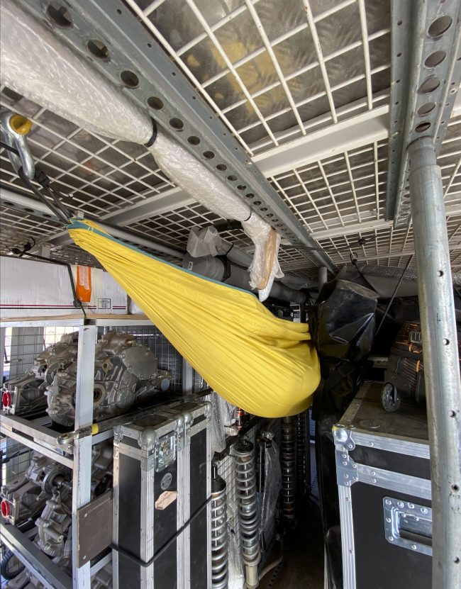Hammocks will hang from most of the service trucks as a quick way to get to sleep with little setup time.