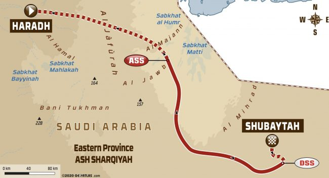 2020 Dakar Rally Stage 11 Shubaytah to Haradh Route map
