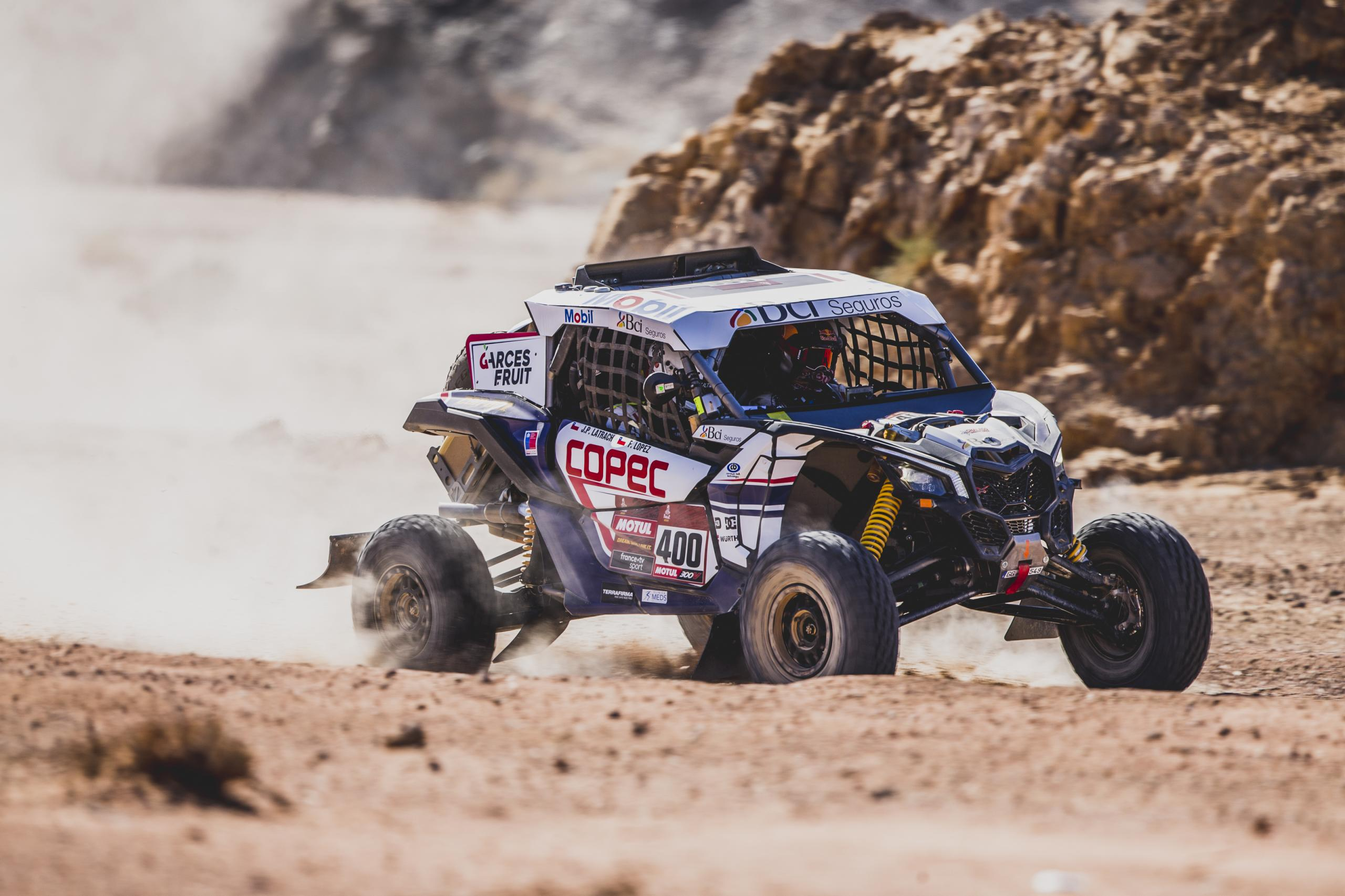 Francisco Lopez Contardo (CHL) and Juan Pablo Latrach Vinagre (CHL) of SSV South Racing Can-Am team races during stage 2 of Rally Dakar 2020 from Al Wajh to Neom, Saudi Arabia on January 06, 2020.