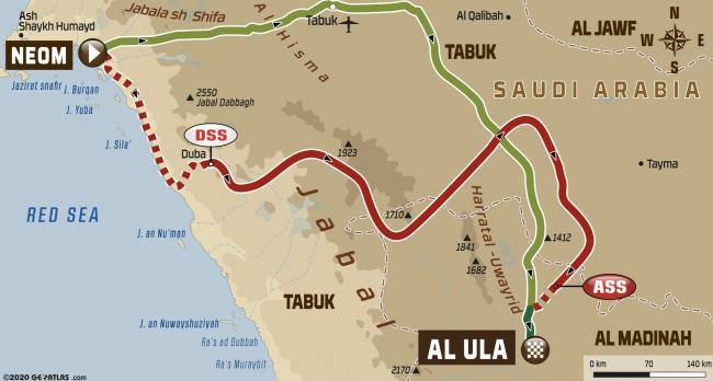 2020 Dakar Rally Stage 4 Neom to Al Ula Route