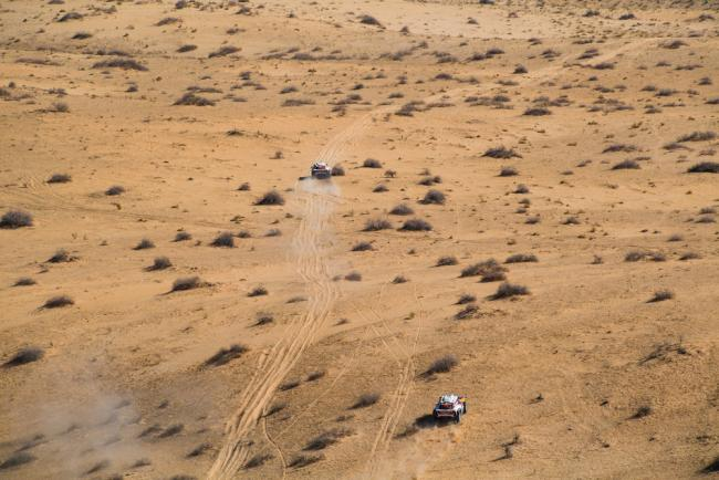 302 Peterhansel Stephane (fra), Fiuza Paulo (prt), Mini John Cooper Works Buggy, Bahrain JCW X-Raid Team, Auto, Car, 305 Sainz Carlos (esp), Cruz Lucas (esp), Mini John Cooper Works Buggy, Bahrain JCW X-Raid Team, Car, action during Stage 5 of the Dakar 2020 between Al Ula and Ha'il, 563 km - SS 353 km, in Saudi Arabia, on January 9, 2020 - Photo Eric Vargiolu / DPPI