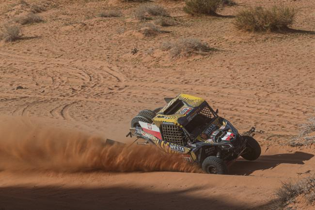 419 Domzala Aron (pol), Marton Maciej (pol), Can-Am, Domzala, SSV, action during Stage 5 of the Dakar 2020 between Al Ula and Ha'il, 563 km - SS 353 km, in Saudi Arabia, on January 9, 2020 - Photo Frederic Le Floc'h / DPPI