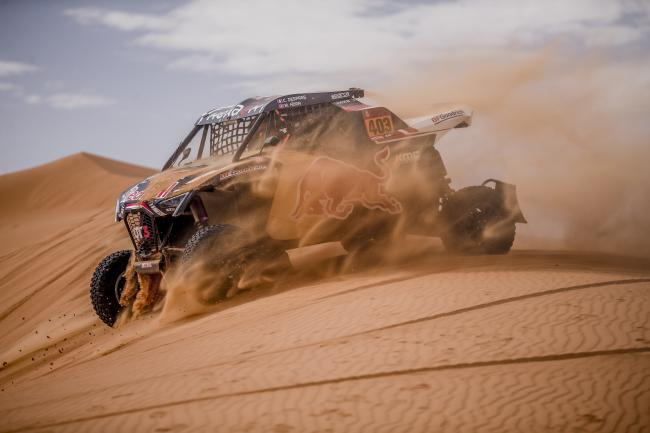 Cyril Despres (FRA) and Mike Horn (CHE) of SSV Red-Bull Off-Road Team USA races during stage 6 of Rally Dakar 2020 from Hail to Riyad, Saudi Arabia on January 10, 2020.