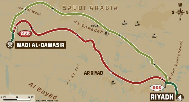 2020 Dakar Rally Stage 7 - Riyadh to Wadi Al-Dawasir Map