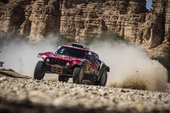 Carlos Sainz (ESP) of Bahrain JCW Team races during stage 09 of Rally Dakar 2020 from Wadi Al Dawasir to Haradh, Saudi Arabia on January 14, 2020