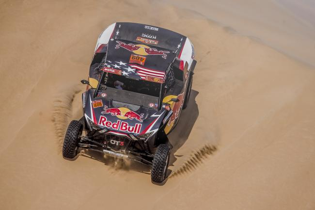 Blade Hildebrand (USA) and François Cazalet (FRA) of SSV Red-Bull Off-Road Team USA races during stage 10 of Rally Dakar 2020 from Harad to Shubaytah, Saudi Arabia on January 15, 2020.