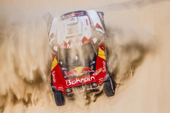 Carlos Sainz and Lucas Cruz (ESP) of Bahrain JCW X-Raid Mini Team races during stage 10 of Rally Dakar 2020 from Harad to Shubaytah, Saudi Arabia on January 15, 2020.