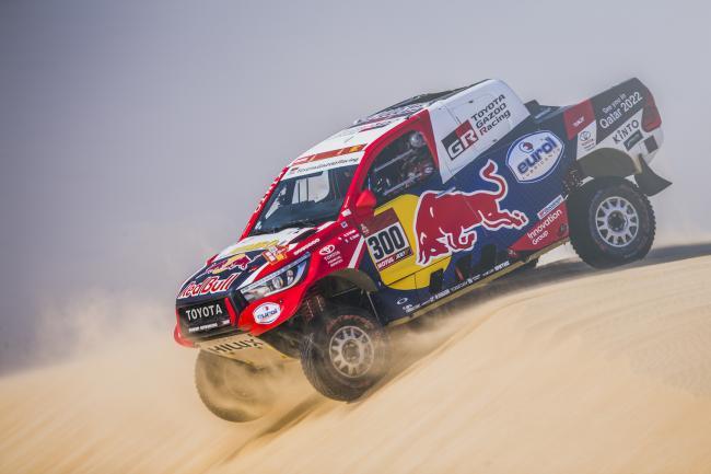 Nasser Al-Attiyah (QAT) and Matthieu Baumel (FRA) of Toyota Gazoo Racing Team races during stage 10 of Rally Dakar 2020 from Harad to Shubaytah, Saudi Arabia on January 15, 2020.