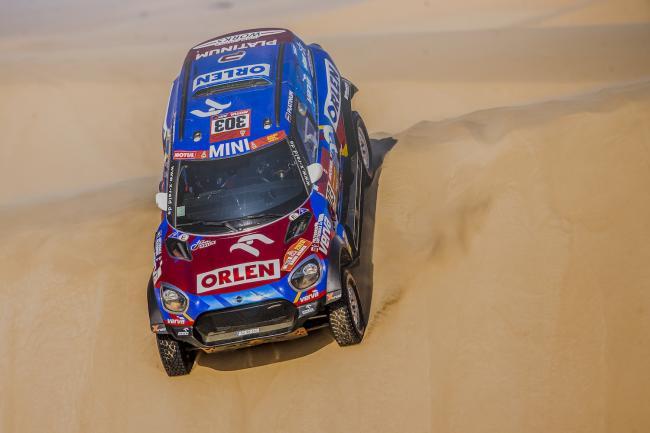 Jakub Przygonski (POL) and Timo Gottschalk (DEU) of Orlen X-Raid Mini Team races during stage 10 of Rally Dakar 2020 from Harad to Shubaytah, Saudi Arabia on January 15, 2020.