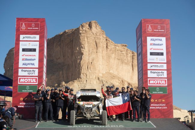 Francisco Chaleco Lopez (CHL) is seen at the finish line of Rally Dakar 2020 from in Qiddiya, Saudi Arabia on January 17, 2020 // Marcelo Maragni/Red Bull Content Pool // AP-22TYBRFNW2511 // Usage for editorial use only //