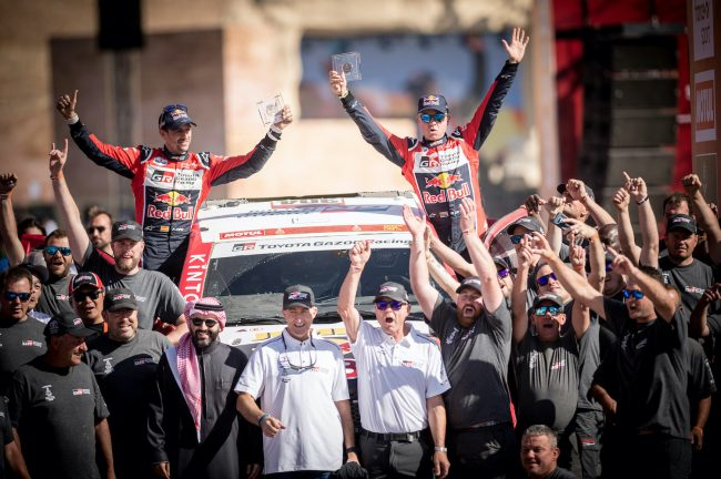 Giniel De Villiers (ZAF) of Toyota Gazoo Racing is seen at the finish line of Rally Dakar 2020 from in Qiddiya, Saudi Arabia on January 17, 2020 // Marcelo Maragni/Red Bull Content Pool // AP-22TYC9DR92511 // Usage for editorial use only //