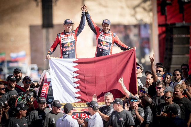 Nasser Al-Attiyah (QAT) of Toyota Gazoo Racing is seen at the finish line of Rally Dakar 2020 from in Qiddiya, Saudi Arabia on January 17, 2020 // Marcelo Maragni/Red Bull Content Pool // AP-22TYBS8ND2511 // Usage for editorial use only //