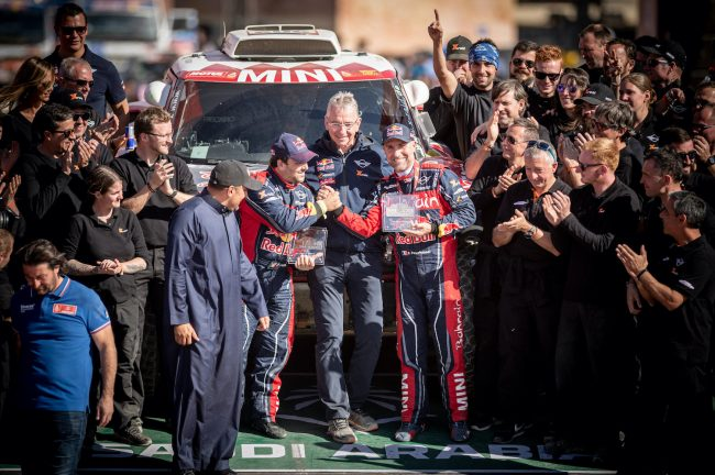 Stephane Peterhansel (FRA) of Bahrain JCW Team is seen at the finish line of Rally Dakar 2020 from in Qiddiya, Saudi Arabia on January 17, 2020 // Marcelo Maragni/Red Bull Content Pool // AP-22TYC8WNS2511 // Usage for editorial use only //
