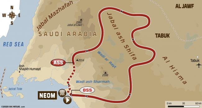 2020 Dakar Rally Stage 3 Neom Loop Map