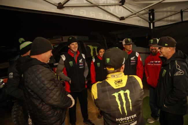 Monster Energy Can-Am and Monster Energy HRC exchange stories from the Stage.