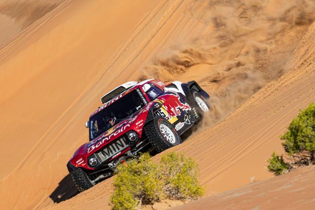 Carlos Sainz (ESP) of Bahrain JCW Team races during stage 11 of Rally Dakar 2020 from Shubaytah to Haradh, Saudi Arabia on January 16, 2020