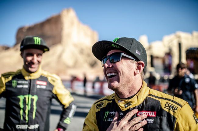 Casey Currie on the podium after winning 2020 Dakar Rally SSV Class